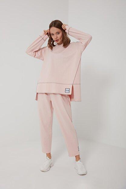 oia W-0943 Pudra Pamuklu Tunik Pantolon Takım Eşofman Takım
