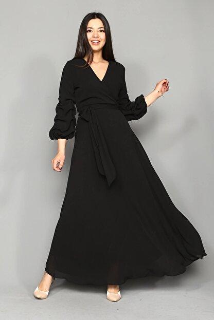 Modakapimda Siyah Kolları Büzgülü Uzun Büyük Beden Şifon Elbise