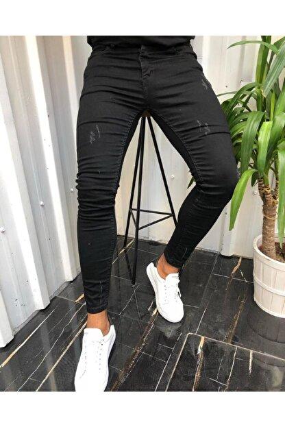 moda biz Erkek Siyah Jean Italyan Kesim Denım Kot Pantolon