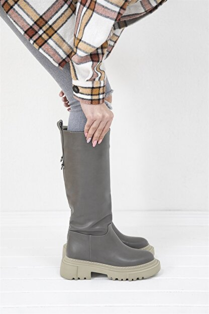 Straswans Kadın Gri Lona Deri Çizme