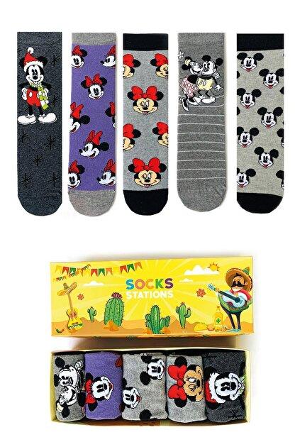 Socks Stations Mouse Renkli Desenli Çorap Kutusu 5'li