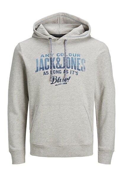Jack & Jones JJ30JACK PRINT SWEAT HOOD Gri Erkek Sweatshirt 101057584