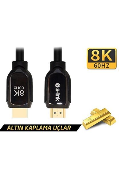 S-Link Sl-h8k01 Hdmı 1.5m 8k 60hz 4k 120hz Ultra Hdr 2.1v 7680p Metal Kılıflı Kablo