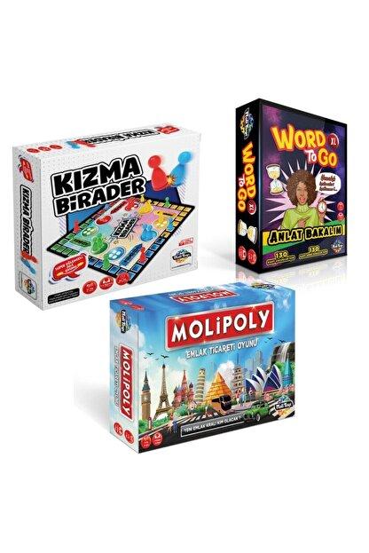 Moli Toys Molipoly Emlak Ticaret Oyunu + Kızma Birader+ Word To Go Xl Tabu Xl Edition 3'lü Süper Set