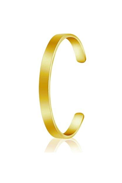 Chavin Erkek Altın Dizayn Çelik Kelepçe Bileklik 6 mm Ed03