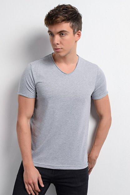 Rodi Jeans Rodi Rd19ye279974 Gri Melanj Erkek Fırçalı Süprem V Yaka T-shirt