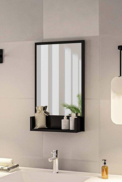 bluecape Siyah Raflı Antre Hol Koridor Duvar Salon Mutfak Yatak Odası Aynası  75cm
