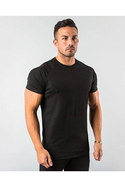 EMTA Erkek Siyah  Basic Pamuk Bisiklet Yaka T-shirt