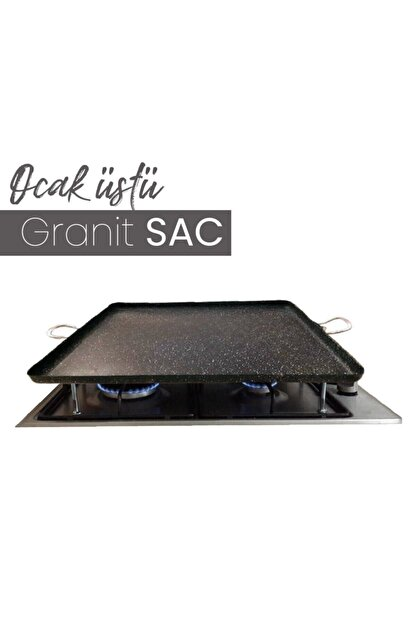 Kayso Granit Ocak Üstü Pisirme Sacı Izgara Kulplu 45x45