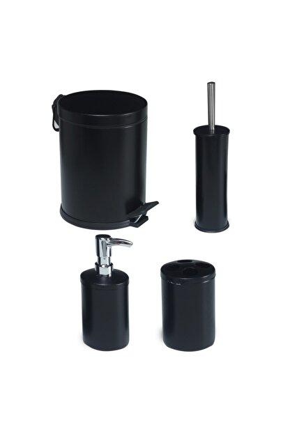 Foreca 4 Lü Çöp Kovası Banyo Seti Siyah