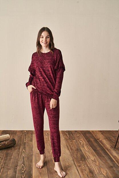 Feyza Kadın Bordo Pijama Takım