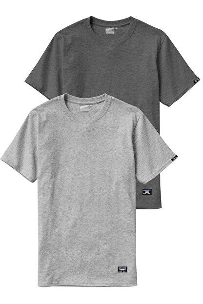 Sivugin Açık Ve Koyu Gri Pamuklu Yuvarlak Yaka Kısa Kol Erkek Spor T-shirt - 2'li Paket