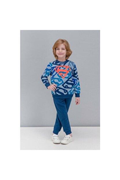 Superman Lisanslı Mavi Erkek Çocuk Eşofman Takımı