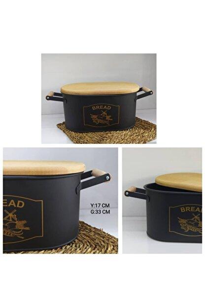 MİEN Kesme Tahtalı Ekmeklik Siyah-gold Baskı