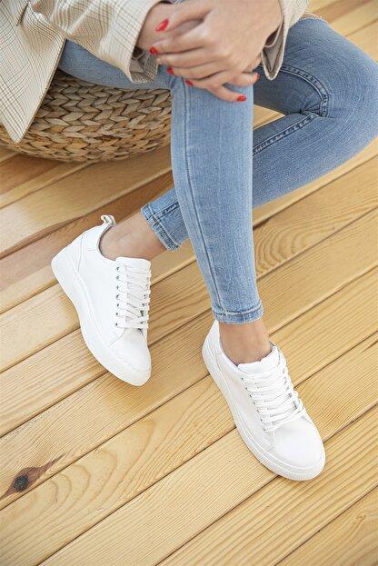Straswans Papel Bayan Deri Spor Ayakkabı Beyaz