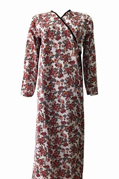 Hazal Namaz Elbisesi Kiremit Renkli Çiçek Desen Bağlamalı Model