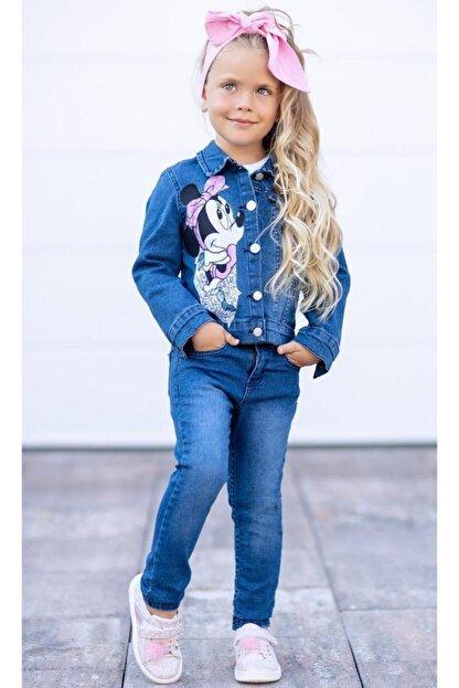 Riccotarz Kız Çocuk Minnie Mouse Kot 4'lü Alt Üst Takım