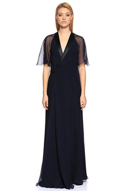 Lanvin V Yaka Uzun Lacivert Gece Elbisesi