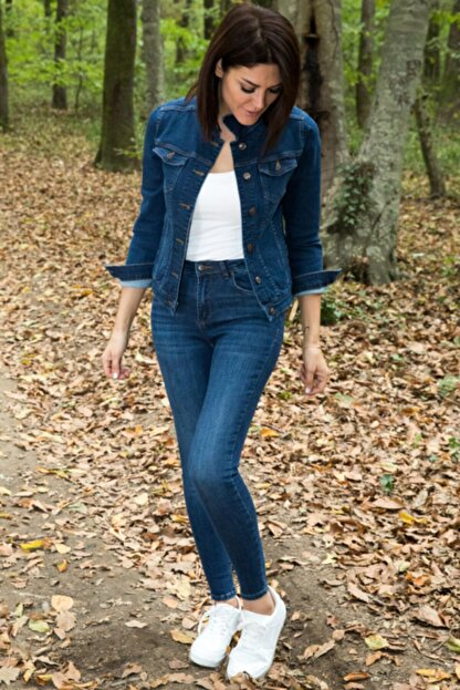 Desperado Kadın Koyu Mavi Yüksek Bel Likralı Jean