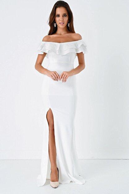 Modakapimda Fm Beyaz Volan Detaylı Yırtmaçlı Abiye Elbise