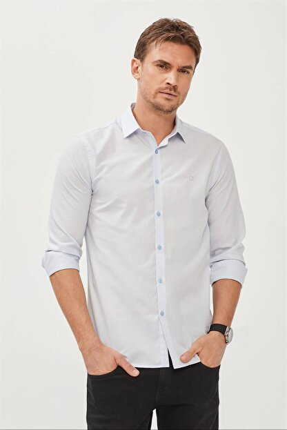Avva Erkek Mavi Düz Klasik Yaka Slim Fit Gömlek E002002