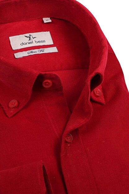 Daniel Bessi Slim Fit Uzun Kollu Düz Kırmızı Kadife Pamuk Erkek Gömlek 705-831