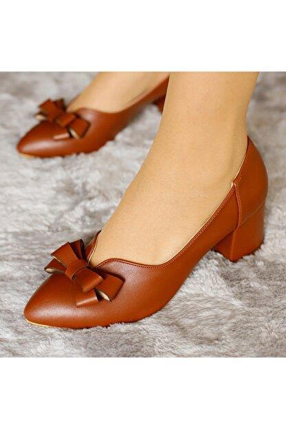 PUNTO Kadın Kahverengi Deri Kısa Topuklu Ayakkabı