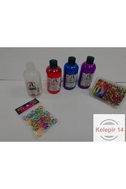 Monalisa Slime Yapma Seti 4 Renk 250 ml Bileklik Örme Seti Ve Renkli Köpük