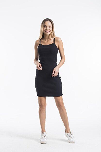 twentyone Kadın Siyah İp Askılı Mini Kaşkorse Elbise