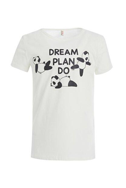 Defacto Kız Çocuk Panda Baskılı Kısa Kollu Tişört