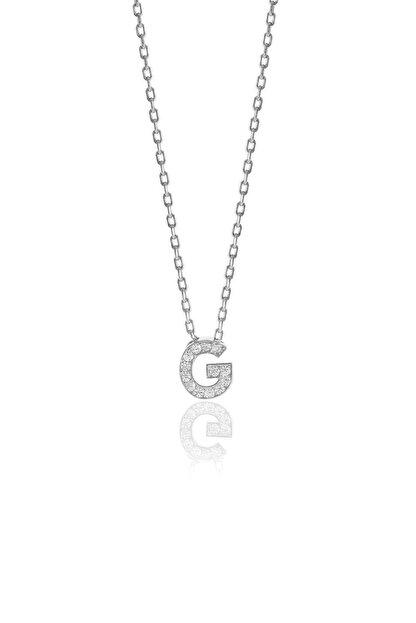 Söğütlü Silver Gümüş  Rodyumlu Üç Boyutlu Minimal G Gümüş Harf Kolye