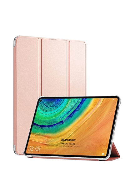 Huawei Microsonic Matepad Pro 10.8'' Kılıf Slim Translucent Back Smart Cover Rose Gold