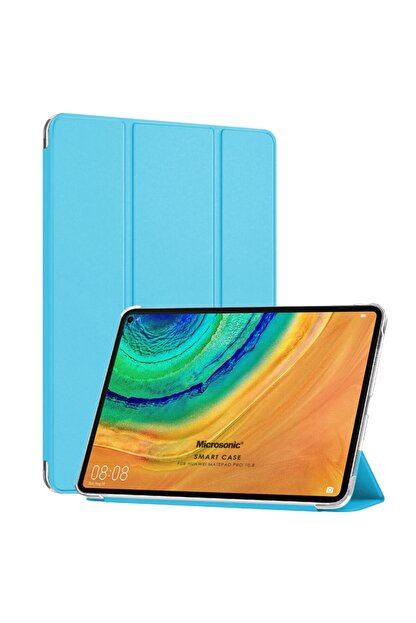 Huawei Microsonic Matepad Pro 10.8'' Kılıf Slim Translucent Back Smart Cover Mavi