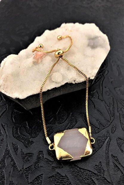 Dr. Stone Dr Stone Golden Pembe Kuvars Taşı 22k Altın Kaplama El Yapımı Kadın Bileklik Tkrb14