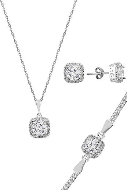 Söğütlü Silver Gümüş Zirkon Taşlı Kare Pırlanta Montürlü Gümüş Üçlü Set