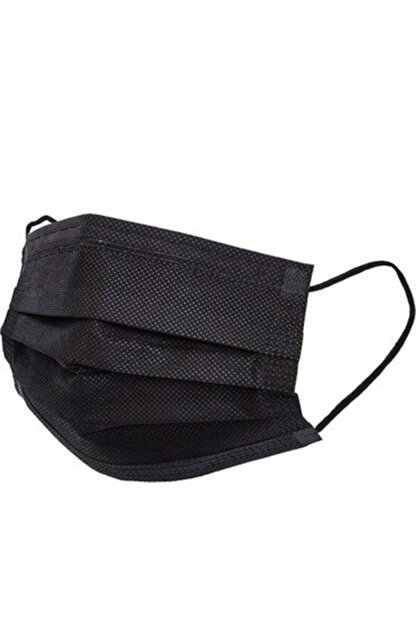 Medikal Maske Siyah Telli 3 Katlı Tam Ultrasonik Cerrahi Maske 50 Adet Afgtekmaskblack