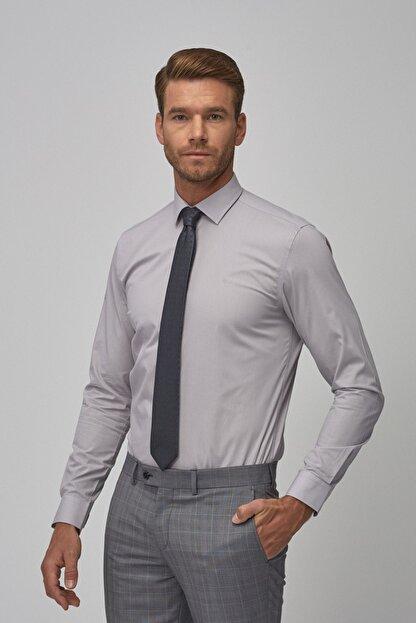 Altınyıldız Classics Erkek Gri Tailored Slim Fit Klasik Gömlek
