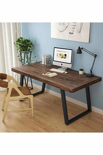 WorldWooden Ahşap Masif Ağaç Doğal Çalışma Masası Demir Iskelet Ofis Masası