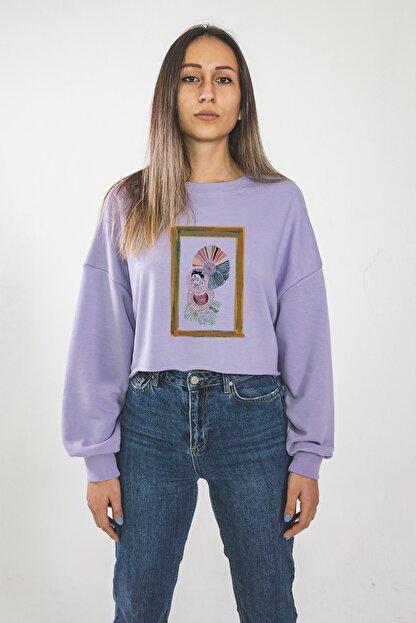 Maken Merry Kadın Özel Tasarım Mantar Lila Crop Sweatshirt