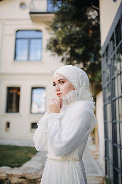Minel Aşk Ekru Nikah Elbisesi Şalı