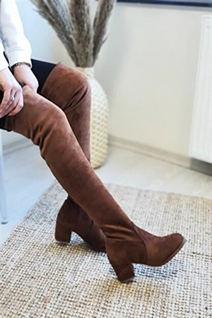 Nil Shoes Taba Süet Serena Streç Bayan Çizme