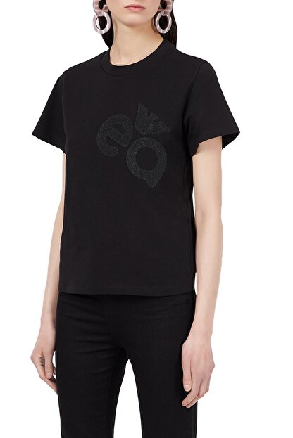 Emporio Armani Kadın Siyah Baskılı Bisiklet Yaka Pamuklu T-shirt