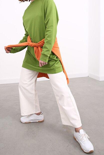 Ekrumoda Kadın Fıstık Yeşili Reglan Kol Basic Sweat Tunik