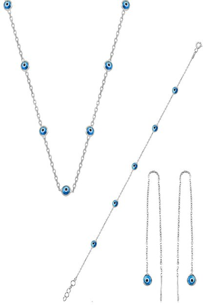 Söğütlü Silver Gümüş Rodyumlu,Cam Göz Nazar Kolye Küpe Ve Bileklik  Gümüş Set