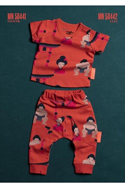 Moi Noi Moinoi Desenli Unisex Bebek Mercan  İkili Takım Dar Paça Yazlık 50441-sumo