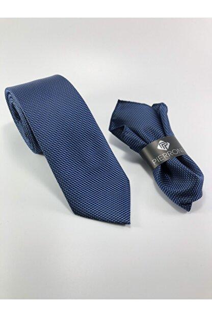 PİERRONİ Lacivert Mavi Nokta Desen Mendilli Kravat