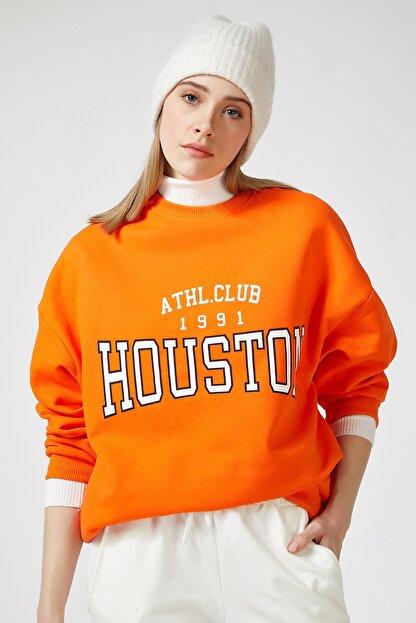 Happiness İst. Kadın Oranj Baskılı Polarlı Sweatshirt HF00169