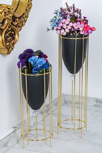 MHK Collection Altın Renkli 2'li Büyük Ayaklı Vazo, Çiçeklik