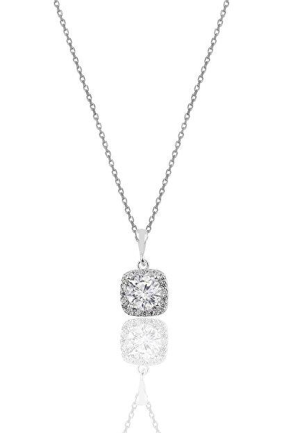 Söğütlü Silver Gümüş Zirkon Taşlı Kare Pırlanta Montürlü Gümüş Kolye