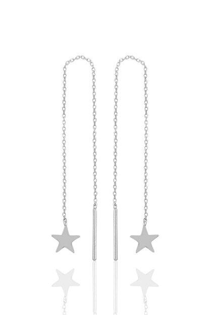 Söğütlü Silver Gümüş Rodyumlu Yıldız Gümüş Zincir Küpe